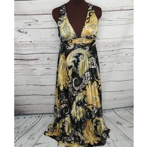 Speechless Black Yellow Paisley Halter Maxi Dress